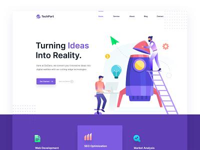 TechPort - Digital Startup Website Template ux branding design agency app design creative illustration business consultancy ui template agency startup digital
