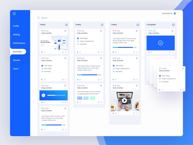 Task Management Dashboard Design app illustration ux ui template design task management admin template dashboard web design