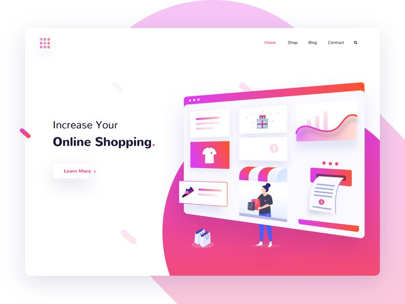 Online Shopping Landing Page ecommerce online shop shopping app sales notification ux ui template app illustration