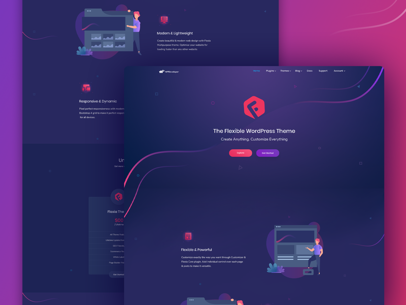 Flexia Website Design web creative vector agency typography branding gradient illustration ui ux