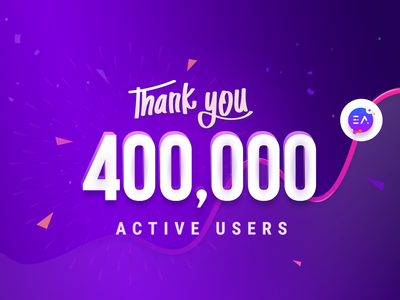 Essential Addons Hits 400,000+ Active Users logo banner creative web ux ui typography gradient vector illustration