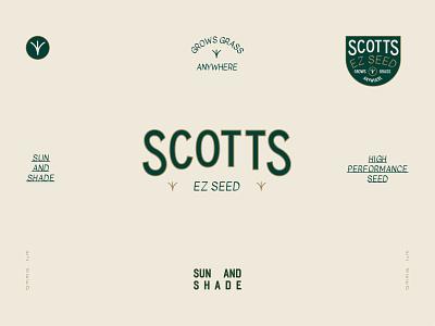 Scotts EZ Seed brand identity brand suite brand sun outdoor grass typography logo branding