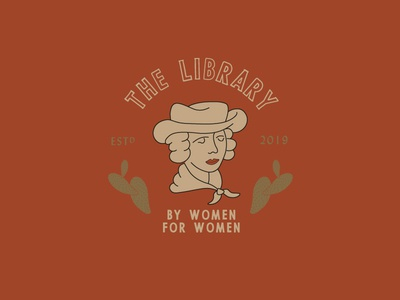 The Library Logo woman cactus library southwestern illustration
