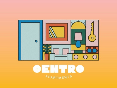 Centro Apartments living house housing illustration art illustrative apartments apartment logo branding illustration