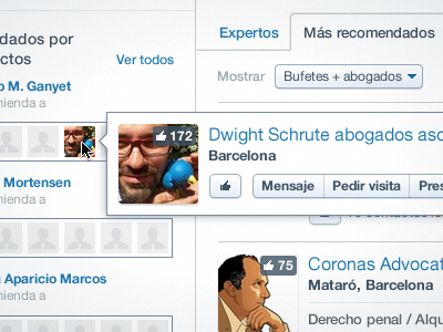 User details/actions user avatar buttons overlay select tabs thumbs up