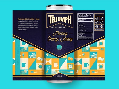 Triumph Energy Drink (Morning) iconography icon honey orange pattern bottle soda organic beverage packaging energy drink
