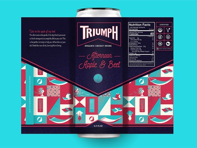 Triumph Energy Drink (Afternoon) energy drink packaging beverage organic soda bottle pattern apple beet icon iconography