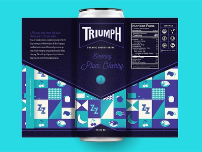 Triumph Energy Drink (Evening) energy drink packaging beverage organic soda bottle pattern evening cherry plum icon iconography