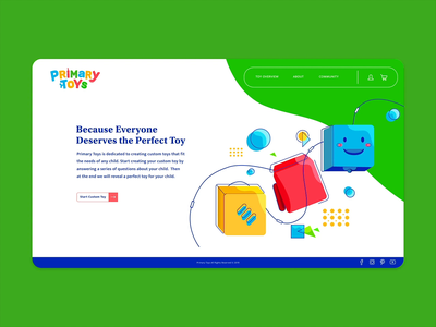 Primary Toys Landing Page custom toy design toy illustration animation adobexd webdesign ux ui