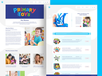 Primary Toys - About Page & Toy Overview Page toy design toy webdesign web adobexd ux ui animation