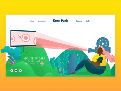Movie in the Park movie park flat aftereffects vector illustration webdesign animation adobexd ux ui