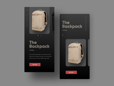 Backpack Store UI Design web design app ecommerce store dark mode dark ui mobile ui userinterface ui design product design uiux interface ux ui website inspiration graphic creative