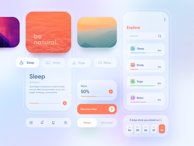 Heal Your Soul sound sleep mobile website relax nature gradient ux app interface mobile ui product design motivation inspiration ui graphic
