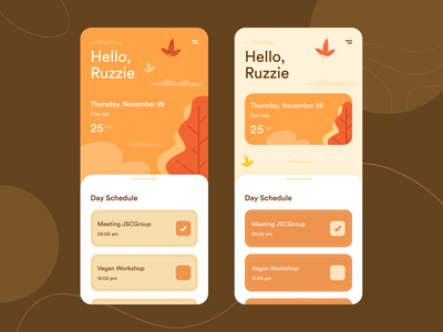 "Schedule ""Fall mood"" ui design daily ui schedule fall mobile ui mobile product design art uiux interface design ui inspiration creative graphic rubynguyenart illustration"