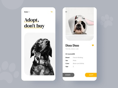 Adopt me! ui design uiux user experience user interface adopt pet care pet app animal minimal layout app ux design website ui creative graphic rubynguyenart