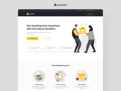 Airbasket landing page brand identity user interface ui design landing page branding app interface ux website ui inspiration graphic creative rubynguyenart illustration