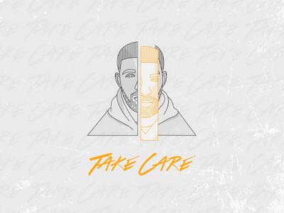 Take Care by Drake line illustration drake lineart illustration illutrator