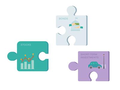 Finance Concept Puzzle Pieces Illustrations finance concepts finance design finance puzzle design puzzle illustrator illustration