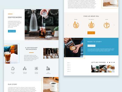 UI/Visual Design - Coffeework web webpage mockup website mockup webpage ui designer product design coffee site coffee website coffee adobe xd web design website uxdesign uidesign ux uiux ui