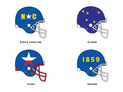 The United States of Football series athletic sports concept idea creative illustration football helmets design football