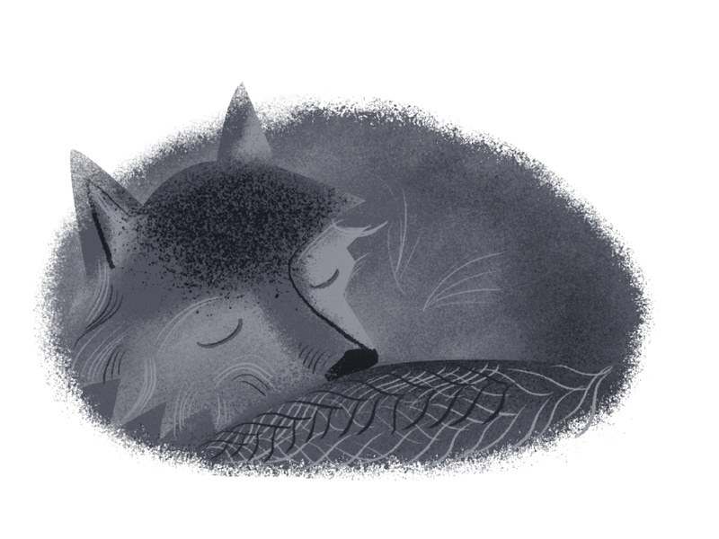 Sleeping Wolf sleepy sleep calm rest fur furry pattern gray character sleeping wolf