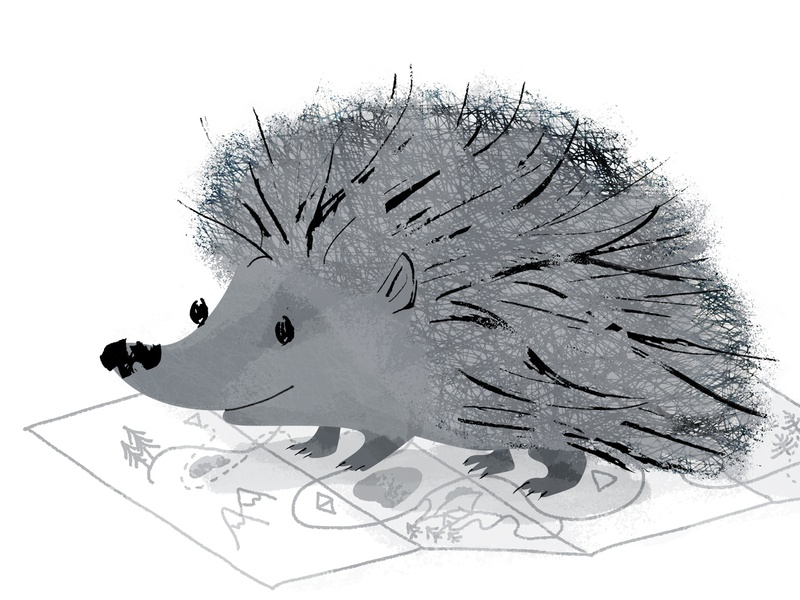 Hedgehog plant map mammal whimsical animal cute smile planning trip traveling hedgehog gray design illustration character