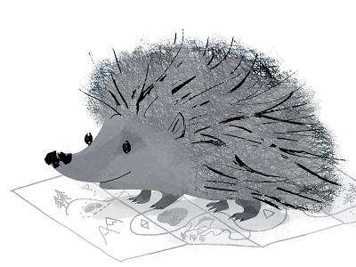 Hedgehog plant map mammal whimsical animal cute smile planning trip traveling hedgehog gray design illustration character