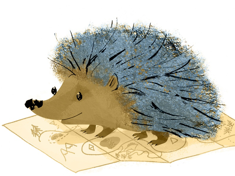 Hedgehog Color Added character design cute traveler travel brown ochre biege blue smile map maps character hedgehog