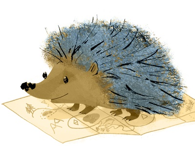 Hedgehog Color Added character design cute traveler travel brown ochre biege blue smile map maps character hedgehog