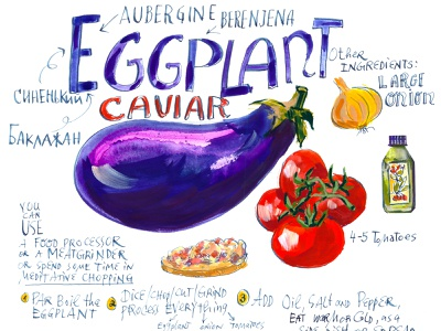 Illustrated Recipe: Eggplant Caviar culinary cooking education editorial spread onion olive oil tomatoes purple illustrated recipe caviar eggplant
