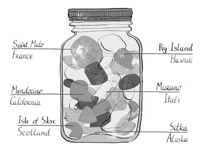 Sea Glass Collection isle of skye saint malo big island murano sitka mendocino hawaii scotland california alaska italy france jar mason jar hand lettering handlettering typography grayscale black and white seaglass