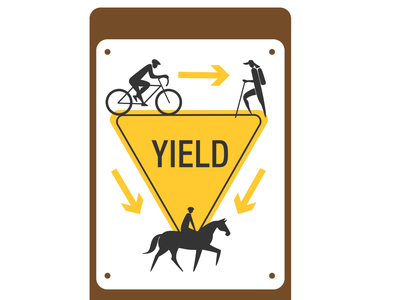 Yield Sign for Multi Use Trail ui illustration design yield brown yellow sign park park sign pedestrian rider horse horse rider bicyclist hiker bicycle