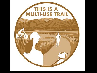 multi-use trail hidden picture sign circle landscape hills wildlife trails park biking biker walking dog hiker runner running trail running trail