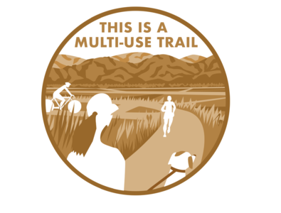 multi-use trail hidden picture sign circle landscape hills wildlife trails park biking biker walking dog hiker runner running trail running trail