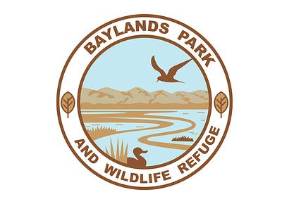 Park logo duck brown ochre leaf mountains birds refuge wildlife park logo