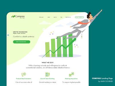 Compass Landing Page illustrator character flat adobe xd adobexd uiux ui design uidesign ui saas website saas