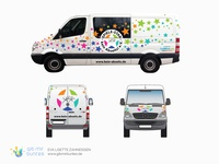 "Car wrap design ""Spiele-Star"" for a van full of toys"