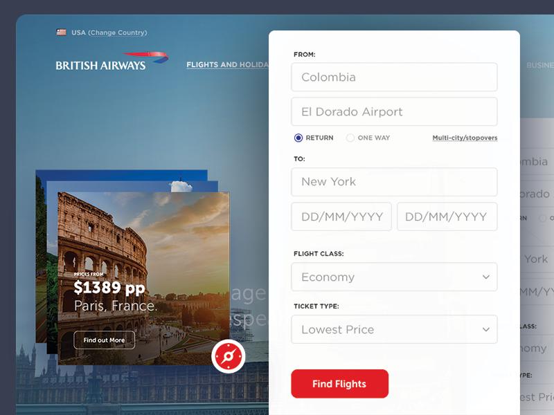 British Airways Re-design website travel ui ux design redesign