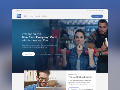 American Express Re-design webpage single page one-page ux ui design blue web web design redesign