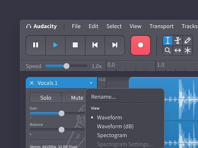 Audacity Redesign - Dark Theme Detail audio editor opensource figma redesign ui design audio audacity
