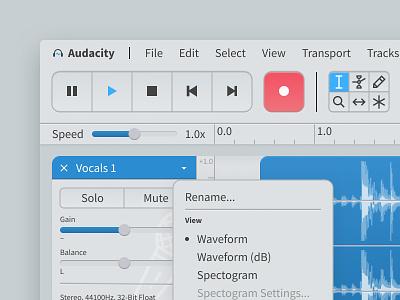 Audacity Redesign - Light Theme Detail uidesign redesign opensource figma audio editor audio audacity