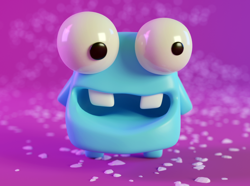 Blue Frog cartoon 3d pink blue frog blender monster