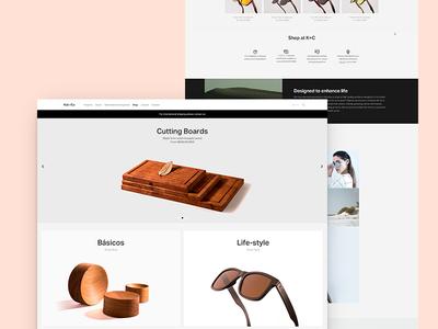 K+C Store Home made of wood industrial design organic block minimal e-commerce store web design ui