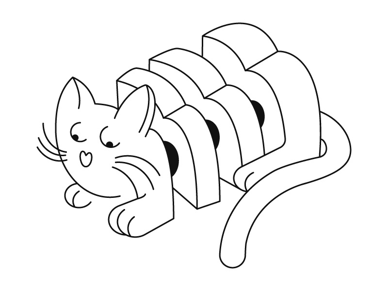 Loaf Of Kitty character design black and white character illustration graphic design bread loaf kitten cat