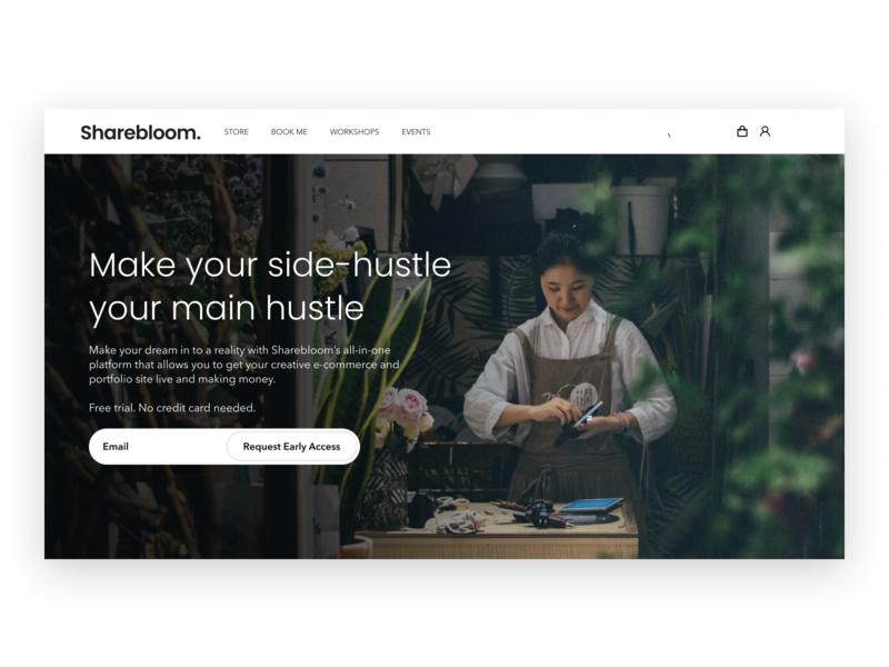 Sharebloom Landing Page Hero webdesign landing page design landing page