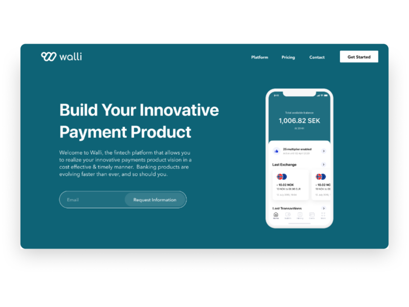 Walli Payments Landing Page landing page design ui design figma landing page webdesign