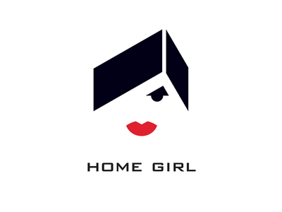 Home Girl bauhaus agent roof lips red geometric illustration typo logo