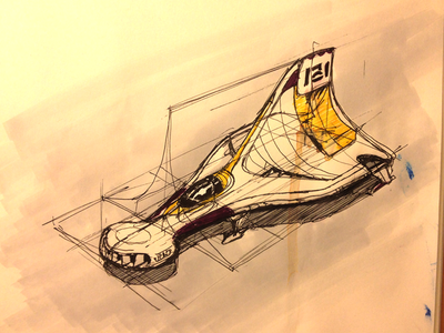 Scifi Aircraft Concept perspective line yellow marker ink paper scan sketch sci-fi