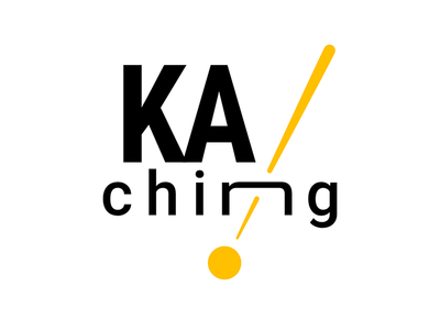 KA Ching! Logo glimmering shiny glitter gold awesome online-store online-shop e-commerce phonetic logotype typography