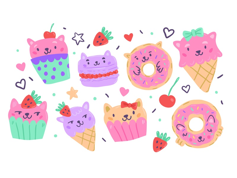 Cats Sweets Cupcakes kawai dessert food adobe illustrator doodles vector sweet muffin cat character design fine arts kids illustration postcard illustrator cute character picture book children book illustration illustration taty vovchek